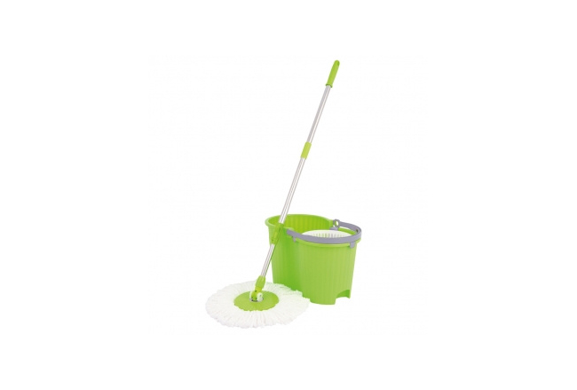 Universal spin and centrifugal floor mop with a bucket
