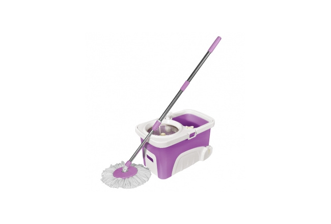 Universal spin and centrifugal floor mop with a bucket on wheels