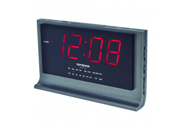 Alarm clock radio with large display.