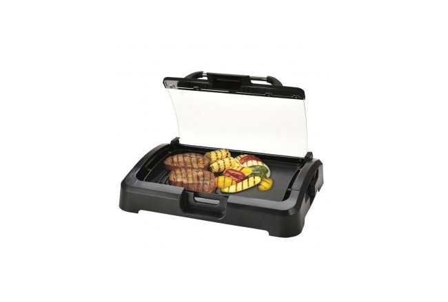 Table grill with glass lid